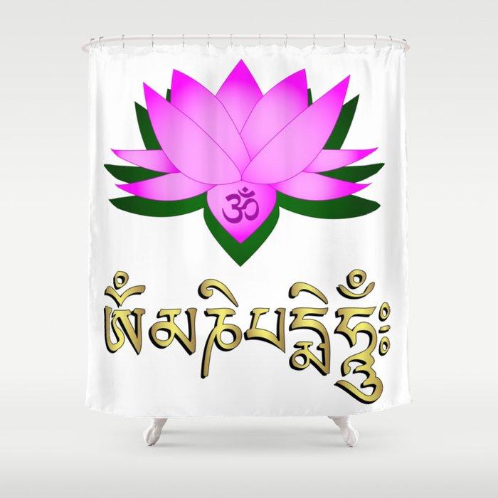 Lotus Flower Om Symbol And Mantra Om Mani Padme Hum Shower