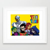 teen titans Framed Art Prints featuring Teen Titans by Paige Thulin