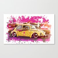 volkswagon Canvas Prints featuring yellowinpink beetle bug by Vector Art
