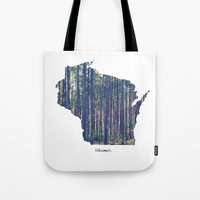 wisconsin Tote Bags featuring Wisconsin by Cassie B Clark