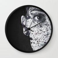 anonymous Wall Clocks featuring Anonymous - Ella by Fernando Vieira