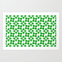 Chipped Leaf Simple Green Leaf Vegetation Pattern Art Print