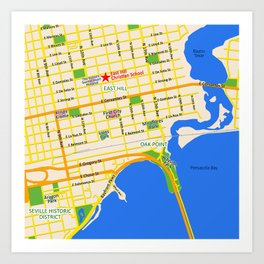 Map of Pensacola, FL - East Hill Christian School Art Print