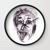 einstein Wall Clocks featuring Einstein by Alicia Evans