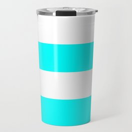 Wide Horizontal Stripes - White and Aqua Cyan Travel Mug