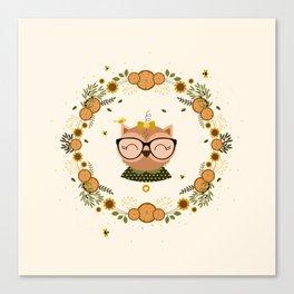 Chouette aux oliviers Canvas Print
