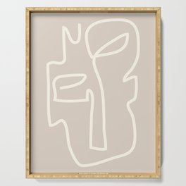 Abstract line art / Face/beige Serving Tray