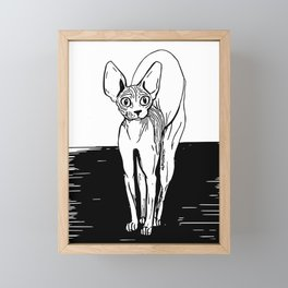 Black and White Sphynx Cat Line Drawing - Sphynx Lovers Gift - Naked Cat - Wrinkly Kitty Framed Mini Art Print
