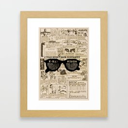 Vintage Comic Book Classified Ad Print with X-Ray Specs Framed Art Print