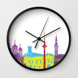 Tallinn skyline pop Wall Clock