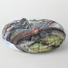 Wrecked River Boats Floor Pillow