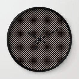 Black and Champagne Beige Polka Dots Wall Clock
