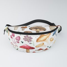 Watercolor forest mushroom illustration and plants Fanny Pack