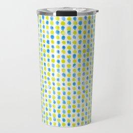 Lime & Blue Dotted Pattern Travel Mug