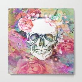 Rose Blossom Skull Metal Print
