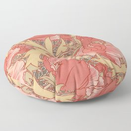 William Morris Poppies Floral Art Nouveau Pattern Floor Pillow