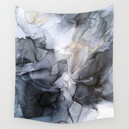 Calm but Dramatic Light Monochromatic Black & Grey Abstract Wall Tapestry