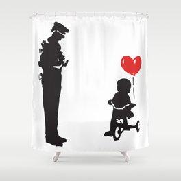 Banksy Policeman & girl on bike, Streetart Street Art, Grafitti, Artwork, Design For Men, Women, Kid Shower Curtain