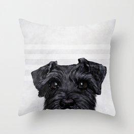 Black Schnauzer Dog illustration original painting print Throw Pillow