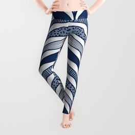 Abstract Whale Fins - Modern Waves Blue Leggings