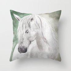 Cathy's white horse Throw Pillow