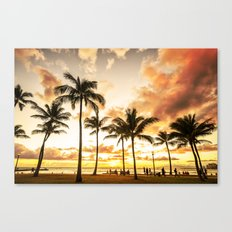 Typical Picturesque Waikiki Beach Sunset Canvas Print