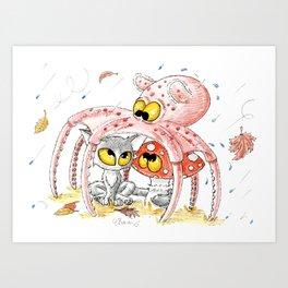 Oroshi, Octave et Champi sous la pluie Art Print