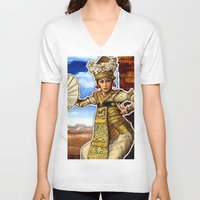 bali V-neck T-shirts featuring Bali Dancer by yadi sudjana