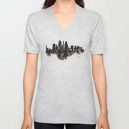 Cincinnati Skyline Black and White Unisex V-Neck