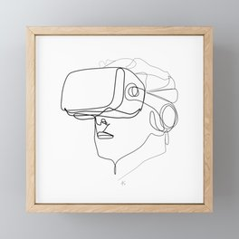 """Gaming Collection "" - Man Wearing Virtual Reality Goggles Framed Mini Art Print"