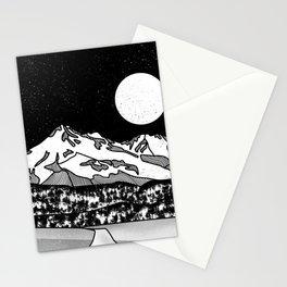 Mount Shasta Black and White Stationery Cards