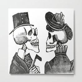 Calavera Couple   Skeleton Couple   Day of the Dead   Dia de los Muertos   Skulls and Skeletons   Vintage Skeletons   Metal Print