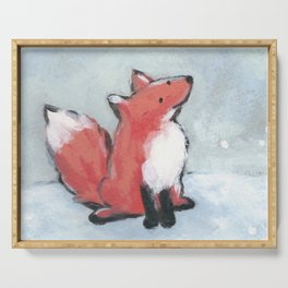 fox in snow Serving Tray