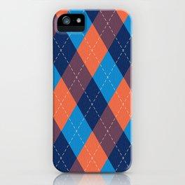 Argyle diamond pattern - coral orange, sky blue, marine blue tones iPhone Case