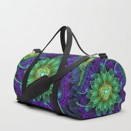 Blue and Green Pandoran Snap Lotus Fractal Flower Duffle Bag