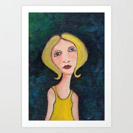girl in yellow Art Print