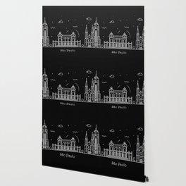 Sao Paulo Minimal Nightscape / Skyline Drawing Wallpaper