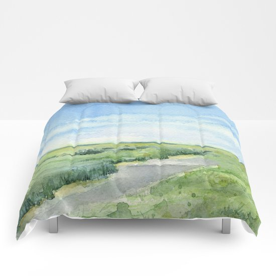 Sky and Grass Landscape Watercolor Comforters