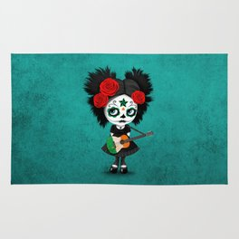 Day of the Dead Girl Playing Irish Flag Guitar Rug