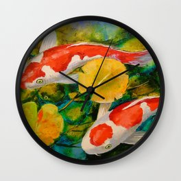 Koi in a pond Wall Clock