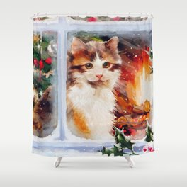 Christmas Kitten Shower Curtain