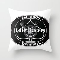 cafe racer Throw Pillows featuring Cafe Racer  by Peter G. Brandt