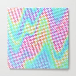 90s Rainbow Houndstooth Pattern Metal Print