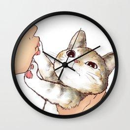 Kiss cute cat 2 Wall Clock