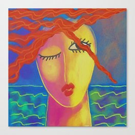 Heat Colorful Abstract Digital Painting of a Red Haired Woman Canvas Print