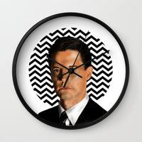 dale cooper Wall Clocks featuring Special Agent Dale Cooper - Twin Peaks by thewhimsicallilbird