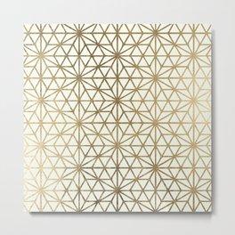 Modern geometric gold stars pattern on ivory Metal Print