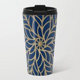 Modern chic navy blue faux gold floral mandala Travel Mug