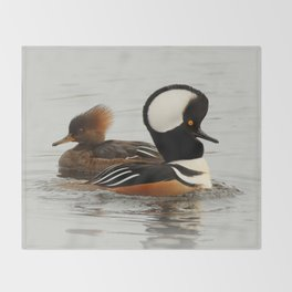A Tale of Two Hooded Mergansers Throw Blanket