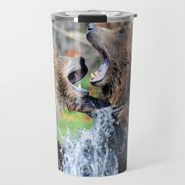 Sparring Grizzly Bears Travel Mug